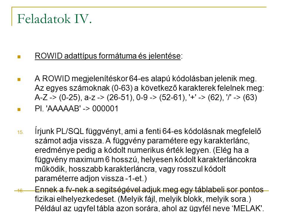 Feladatok IV. ROWID adattípus formátuma és jelentése: