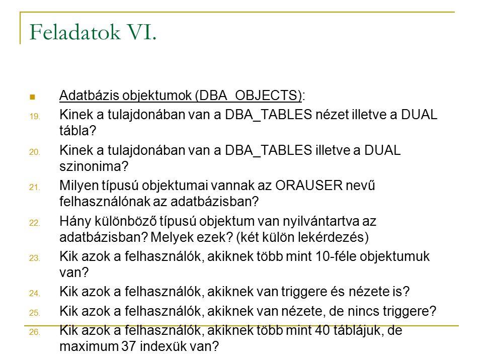 Feladatok VI. Adatbázis objektumok (DBA_OBJECTS):