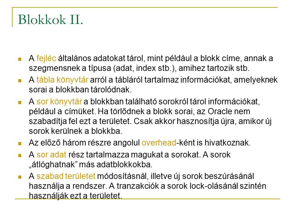 Blokkok II. A fejléc általános adatokat tárol, mint például a blokk címe, annak a szegmensnek a típusa (adat, index stb.), amihez tartozik stb.