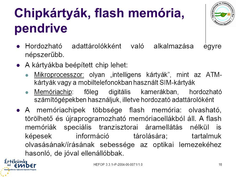 Chipkártyák, flash memória, pendrive