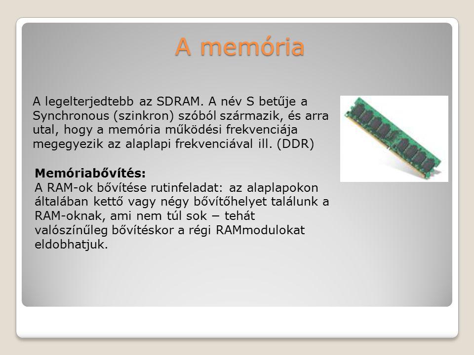 A memória A legelterjedtebb az SDRAM. A név S betűje a Synchronous (szinkron) szóból származik, és arra utal, hogy a memória működési frekvenciája.