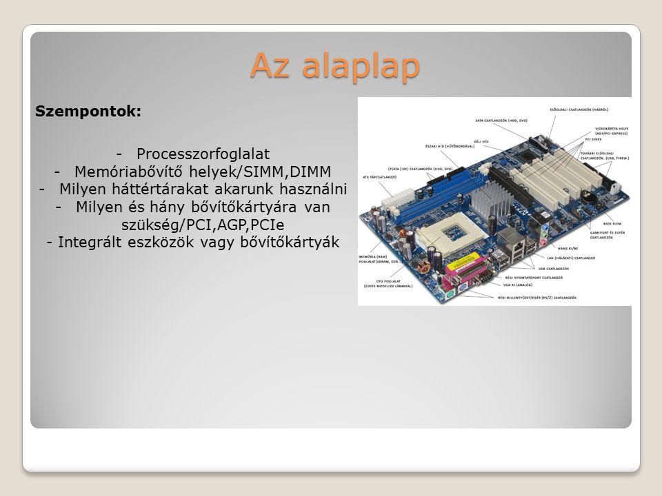 Az alaplap Szempontok: Processzorfoglalat