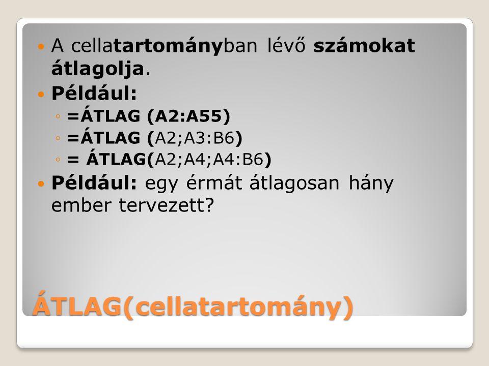 ÁTLAG(cellatartomány)
