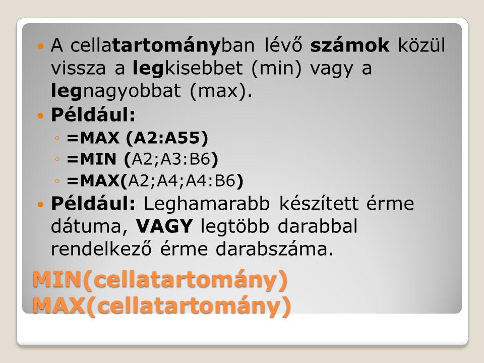 MIN(cellatartomány) MAX(cellatartomány)