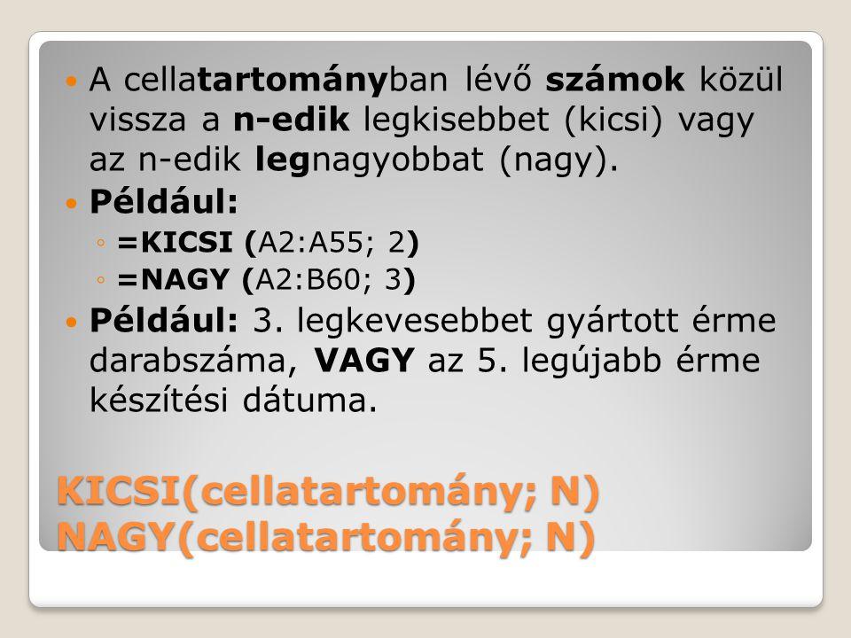 KICSI(cellatartomány; N) NAGY(cellatartomány; N)