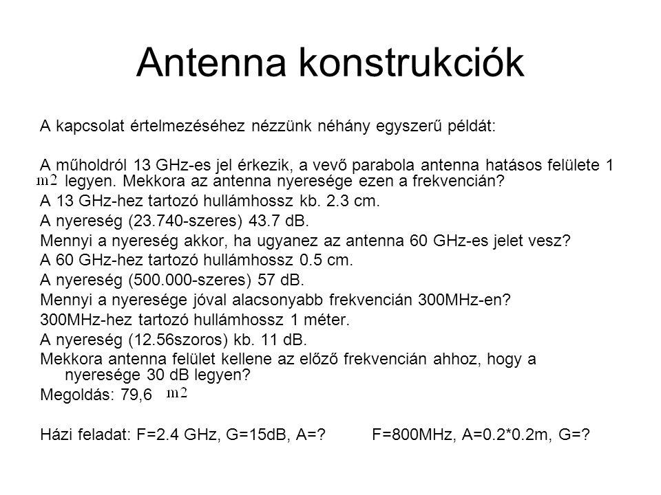 Antenna konstrukciók A kapcsolat értelmezéséhez nézzünk néhány egyszerű példát: