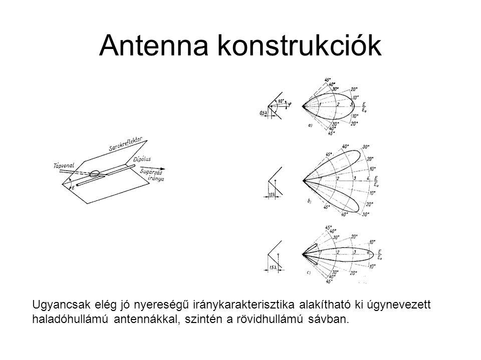 Antenna konstrukciók Ugyancsak elég jó nyereségű iránykarakterisztika alakítható ki úgynevezett.