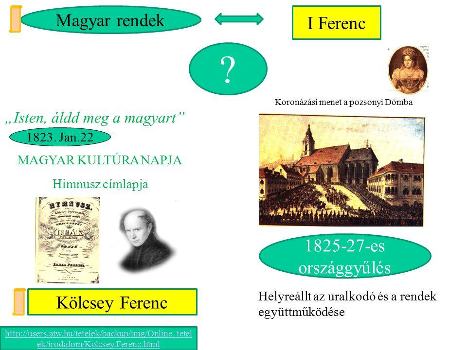 Magyar rendek I Ferenc 1825-27-es országgyűlés Kölcsey Ferenc