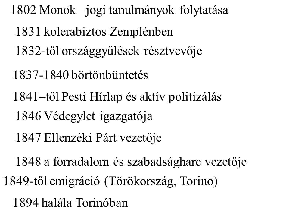 1802 Monok –jogi tanulmányok folytatása