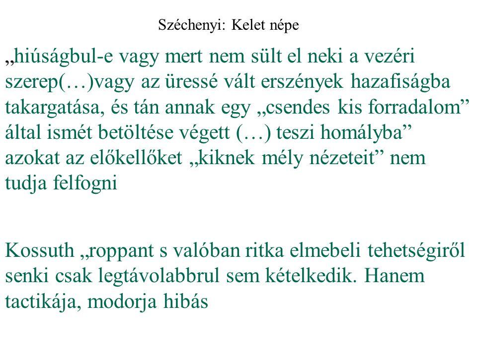 Széchenyi szépen szerkesztett, mégis nehezen követhető körmondatokban végig azt hangoztatja, hogy Kossuth és saját programja között nincs különbség
