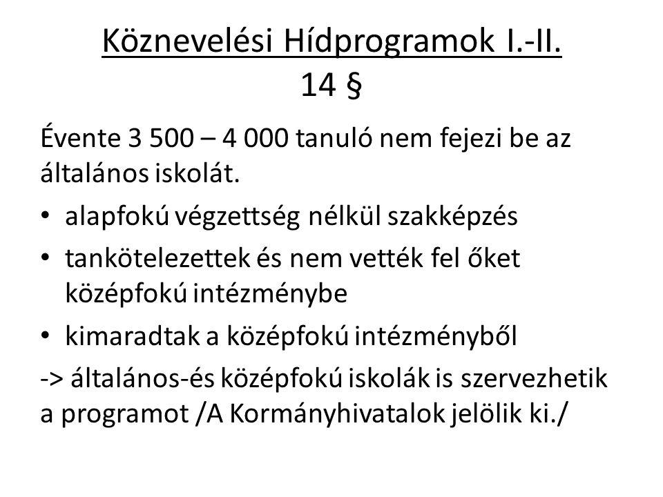 Köznevelési Hídprogramok I.-II. 14 §