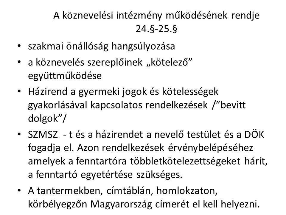 A köznevelési intézmény működésének rendje 24.§-25.§