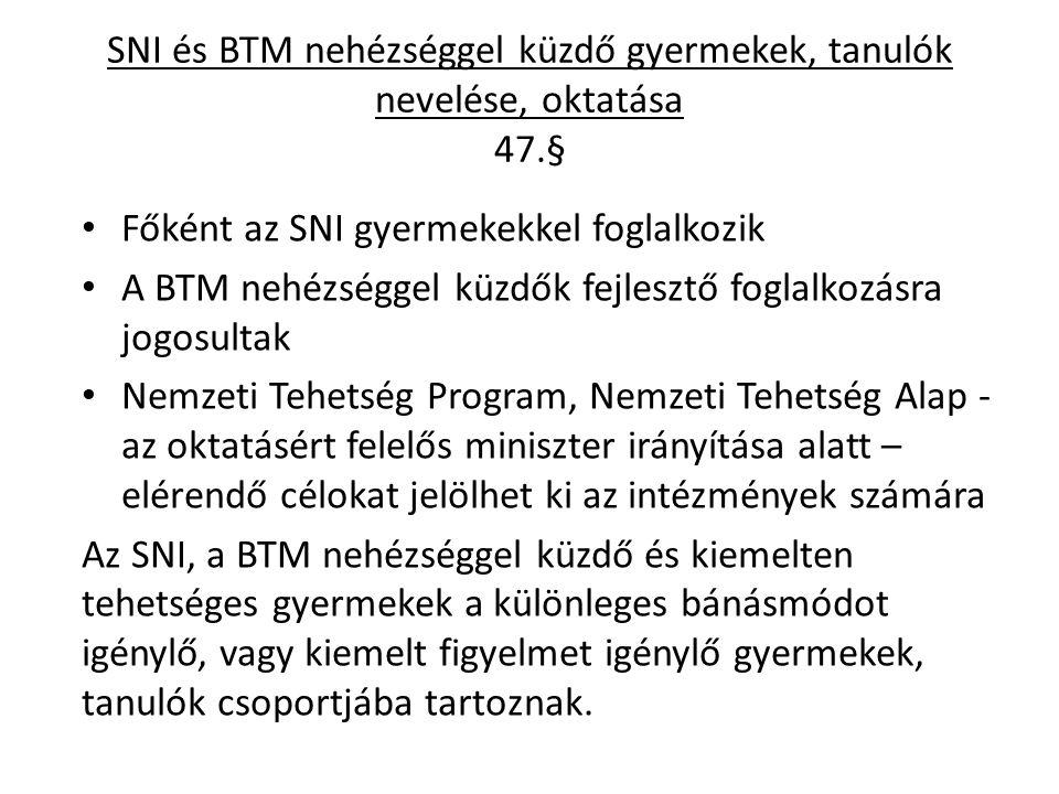 SNI és BTM nehézséggel küzdő gyermekek, tanulók nevelése, oktatása 47