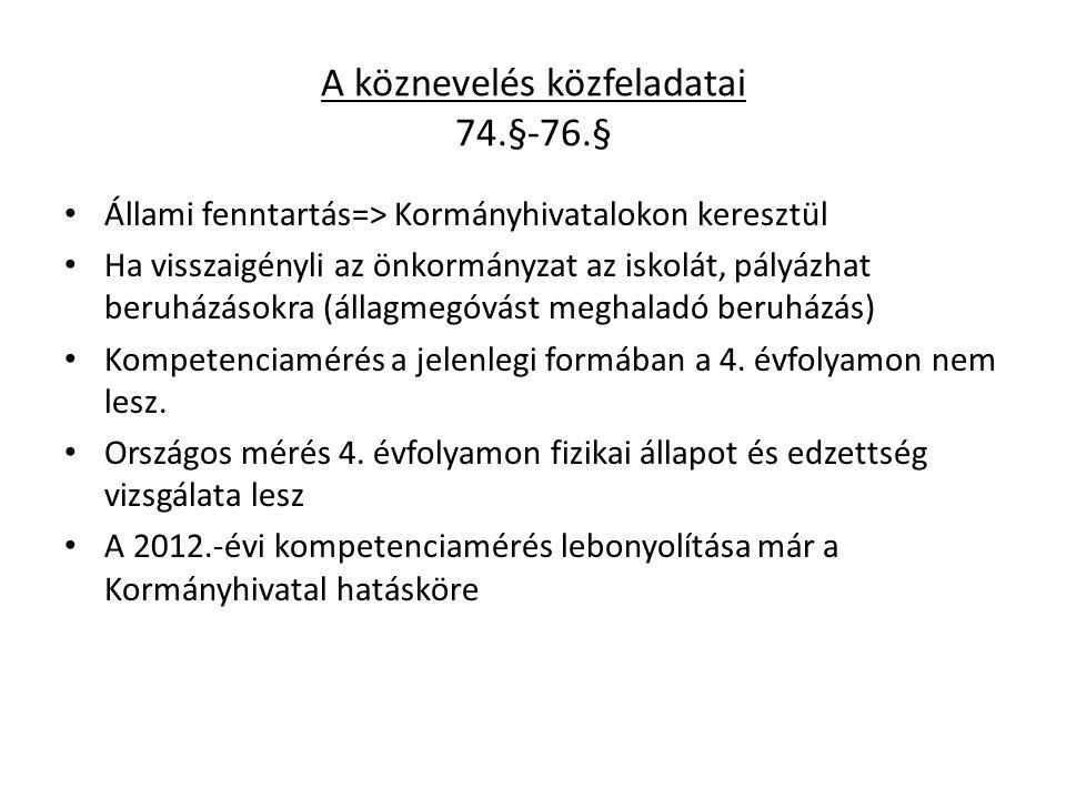 A köznevelés közfeladatai 74.§-76.§