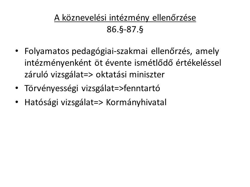 A köznevelési intézmény ellenőrzése 86.§-87.§