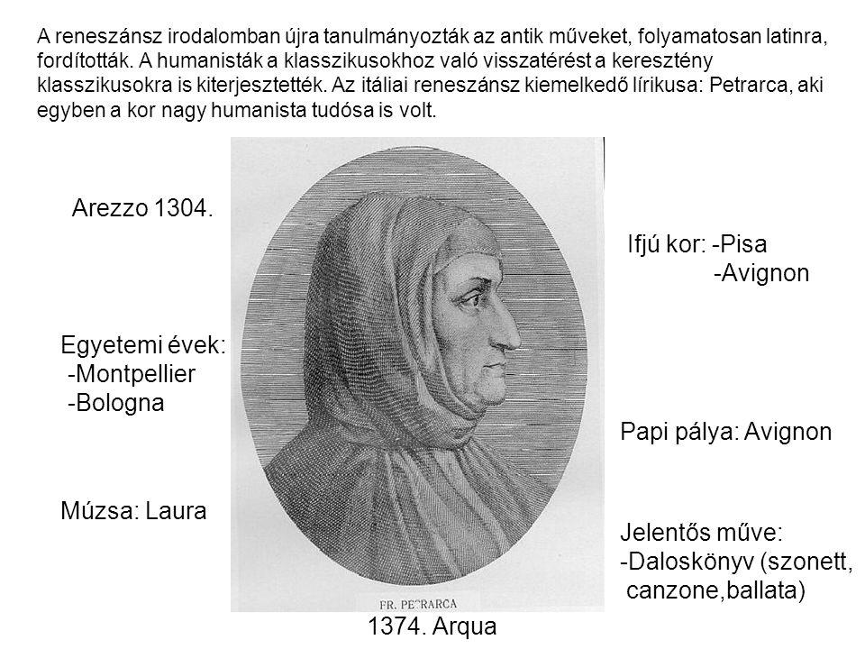 Arezzo 1304. Ifjú kor: -Pisa -Avignon Egyetemi évek: -Montpellier