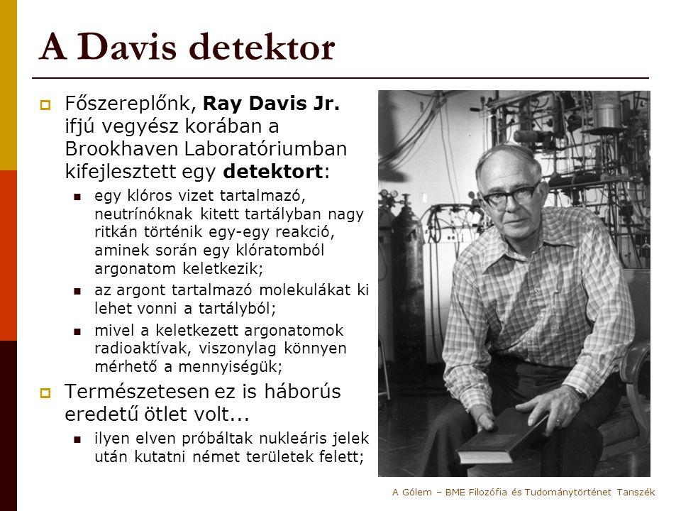 A Davis detektor Főszereplőnk, Ray Davis Jr. ifjú vegyész korában a Brookhaven Laboratóriumban kifejlesztett egy detektort: