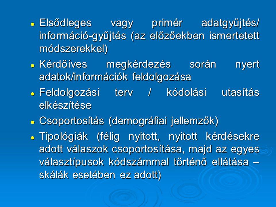 Elsődleges vagy primér adatgyűjtés/ információ-gyűjtés (az előzőekben ismertetett módszerekkel)