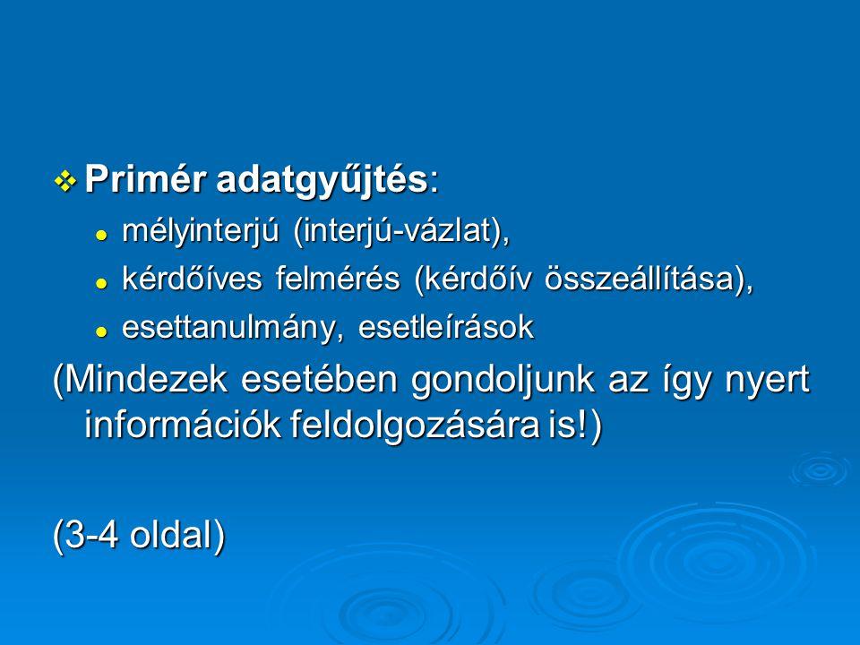 Primér adatgyűjtés: mélyinterjú (interjú-vázlat), kérdőíves felmérés (kérdőív összeállítása), esettanulmány, esetleírások.