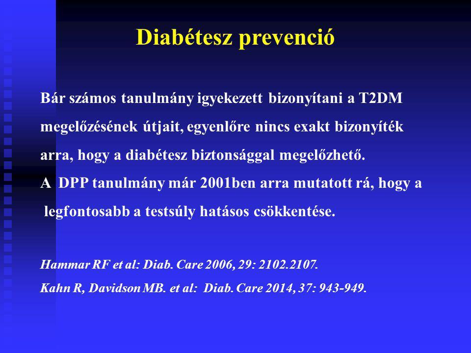 Diabétesz prevenció Bár számos tanulmány igyekezett bizonyítani a T2DM
