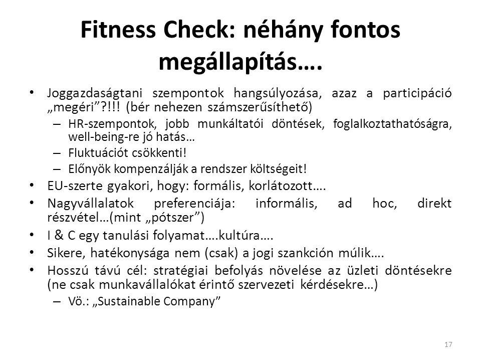 Fitness Check: néhány fontos megállapítás….