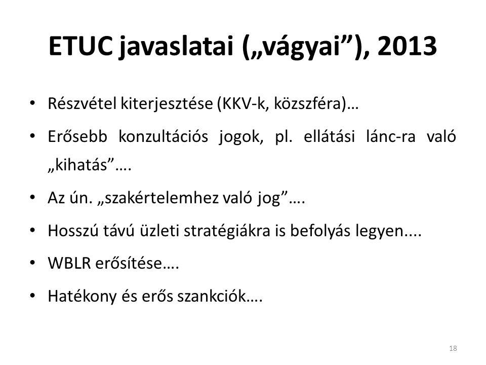 """ETUC javaslatai (""""vágyai ), 2013"""