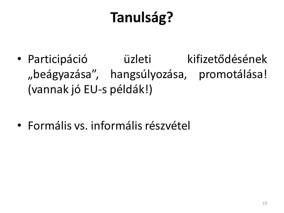 """Tanulság Participáció üzleti kifizetődésének """"beágyazása , hangsúlyozása, promotálása! (vannak jó EU-s példák!)"""