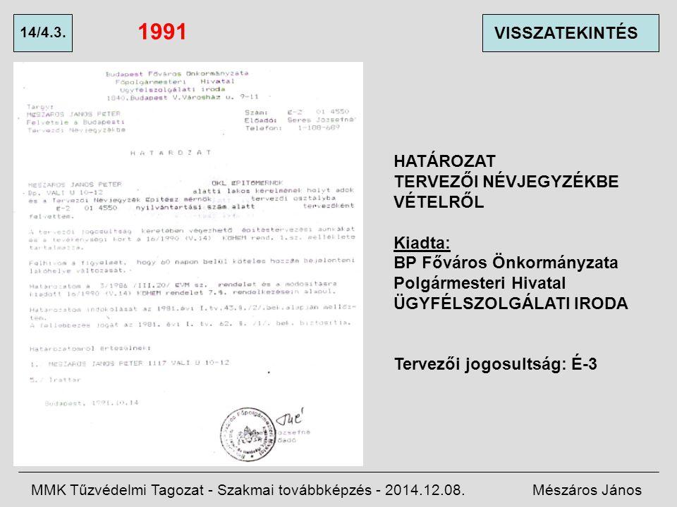1991 VISSZATEKINTÉS HATÁROZAT TERVEZŐI NÉVJEGYZÉKBE VÉTELRŐL Kiadta: