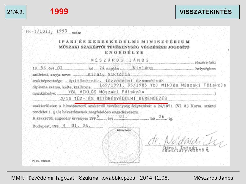 1999 21/4.3. VISSZATEKINTÉS. MMK Tűzvédelmi Tagozat - Szakmai továbbképzés - 2014.12.08.