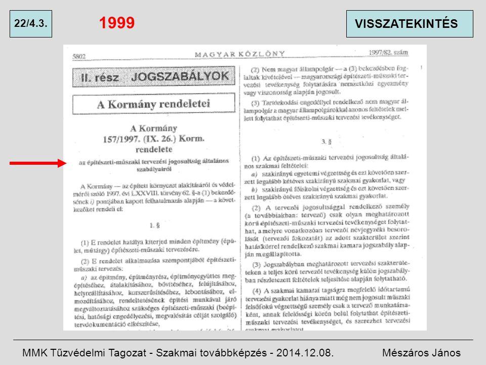 1999 22/4.3. VISSZATEKINTÉS. MMK Tűzvédelmi Tagozat - Szakmai továbbképzés - 2014.12.08.