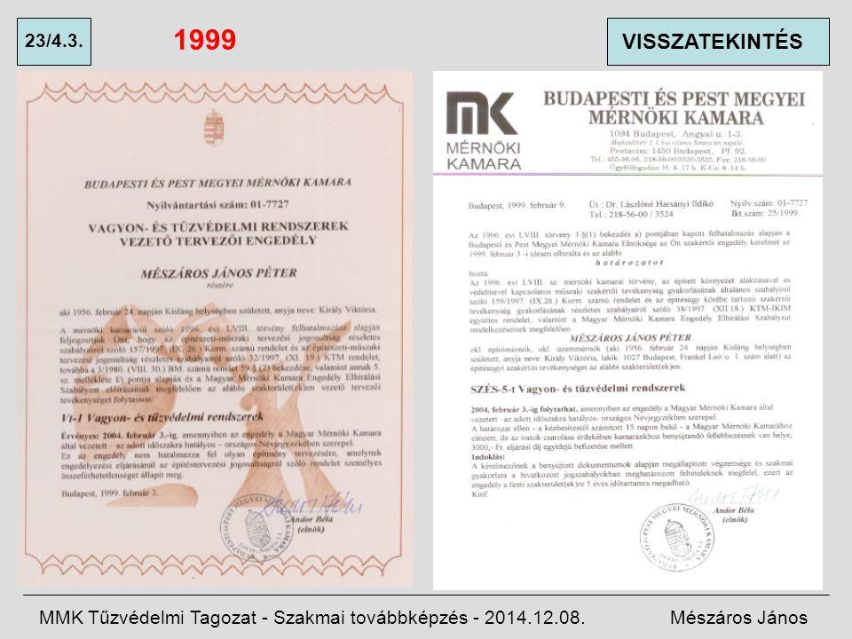 1999 23/4.3. VISSZATEKINTÉS. MMK Tűzvédelmi Tagozat - Szakmai továbbképzés - 2014.12.08.