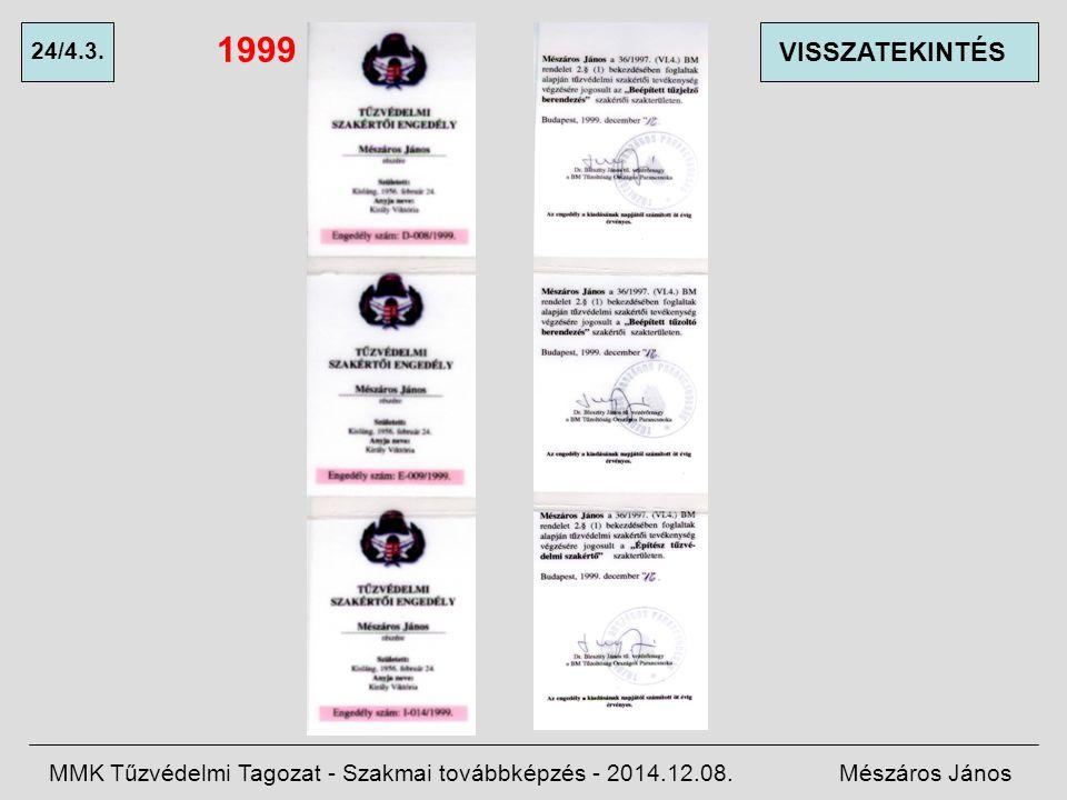 1999 24/4.3. VISSZATEKINTÉS. MMK Tűzvédelmi Tagozat - Szakmai továbbképzés - 2014.12.08.