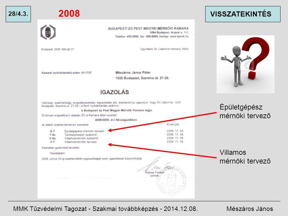 2008 VISSZATEKINTÉS Épületgépész mérnöki tervező Villamos