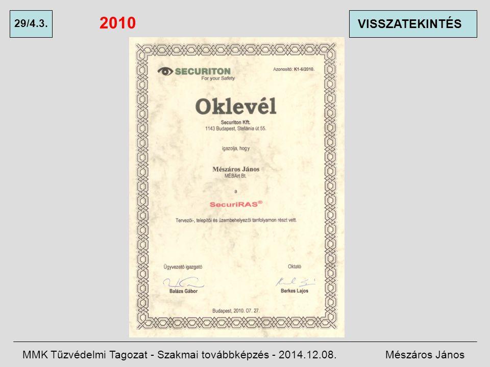 2010 29/4.3. VISSZATEKINTÉS. MMK Tűzvédelmi Tagozat - Szakmai továbbképzés - 2014.12.08.