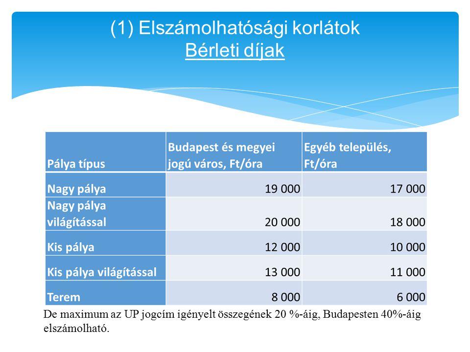 (1) Elszámolhatósági korlátok Bérleti díjak