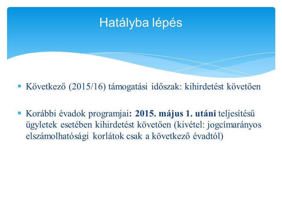 Hatályba lépés Következő (2015/16) támogatási időszak: kihirdetést követően.