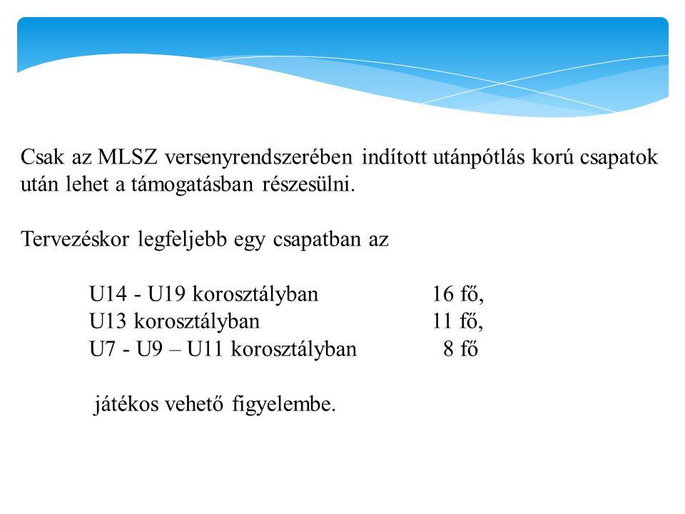Csak az MLSZ versenyrendszerében indított utánpótlás korú csapatok után lehet a támogatásban részesülni.