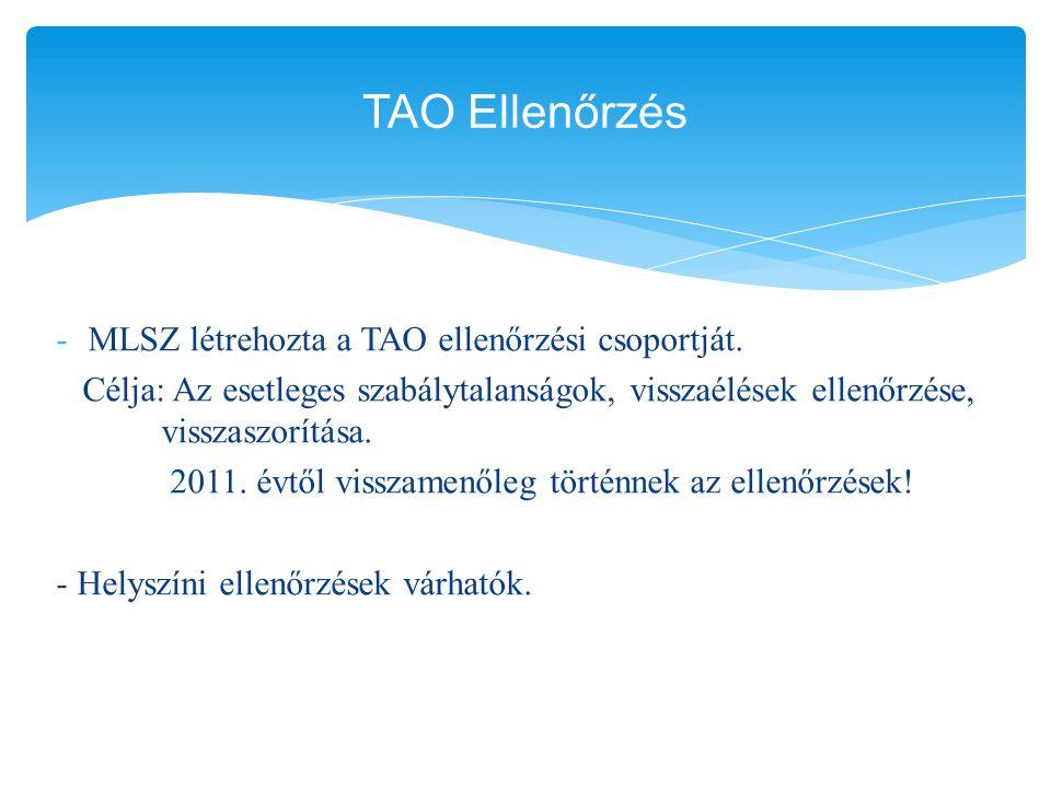 TAO Ellenőrzés MLSZ létrehozta a TAO ellenőrzési csoportját.