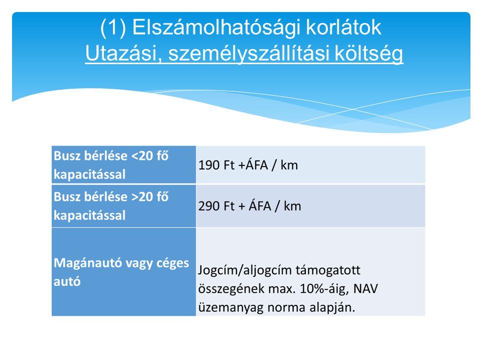 (1) Elszámolhatósági korlátok Utazási, személyszállítási költség