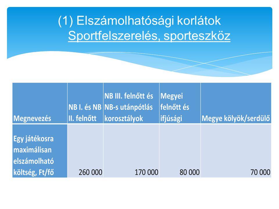 (1) Elszámolhatósági korlátok Sportfelszerelés, sporteszköz