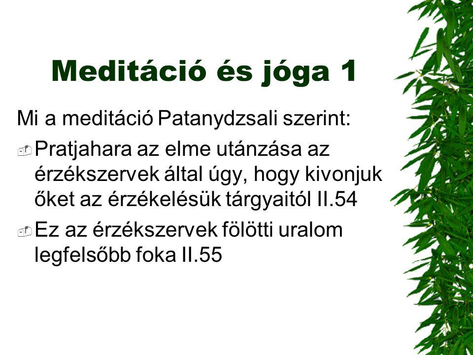 Meditáció és jóga 1 Mi a meditáció Patanydzsali szerint: