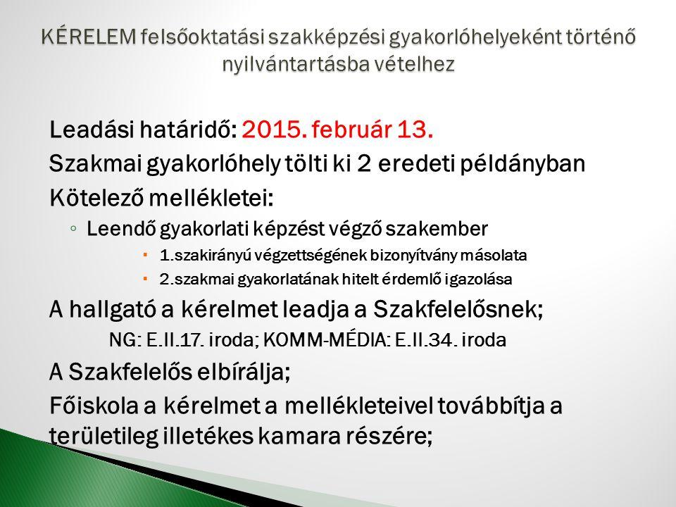 Leadási határidő: 2015. február 13.