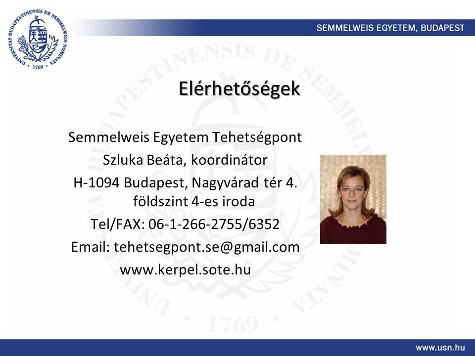 Elérhetőségek Semmelweis Egyetem Tehetségpont