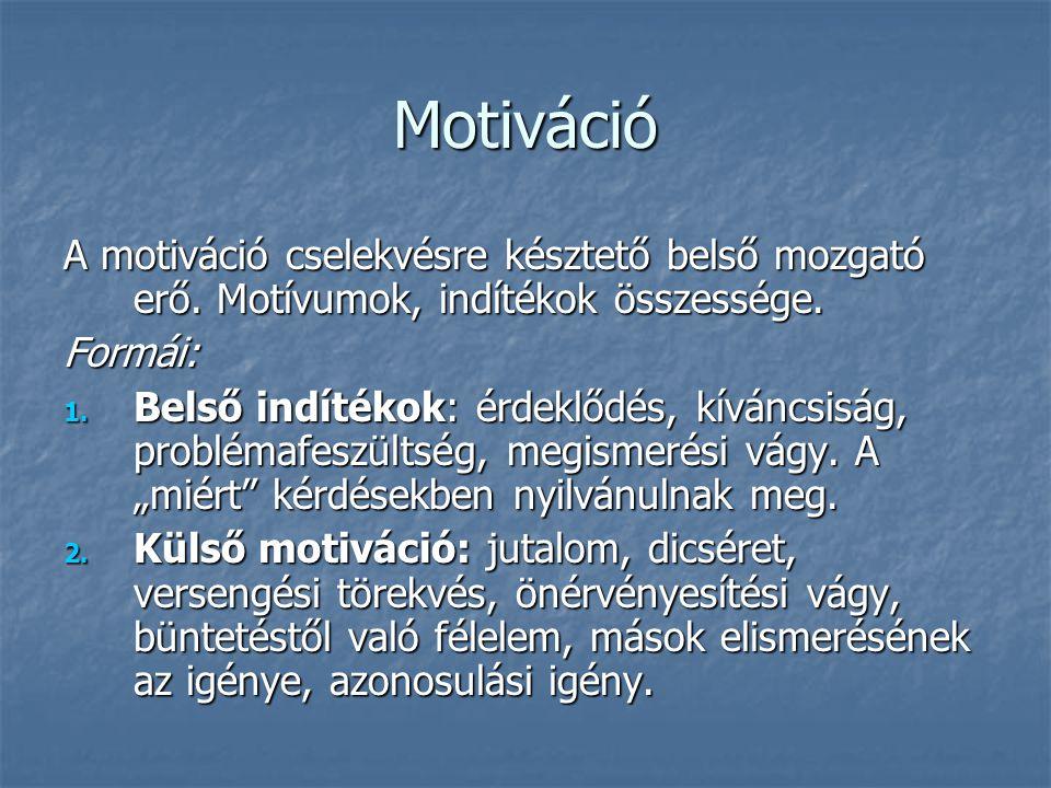 Motiváció A motiváció cselekvésre késztető belső mozgató erő. Motívumok, indítékok összessége. Formái: