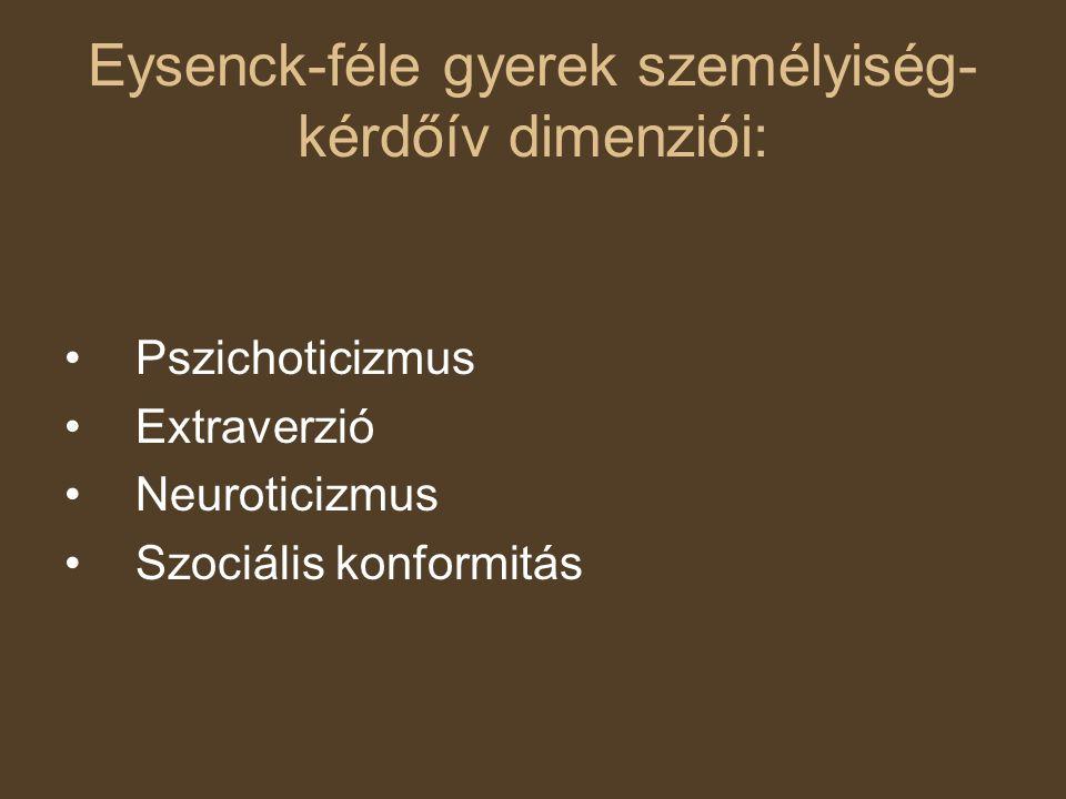 Eysenck-féle gyerek személyiség-kérdőív dimenziói: