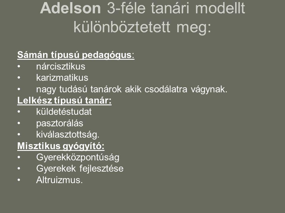 Adelson 3-féle tanári modellt különböztetett meg: