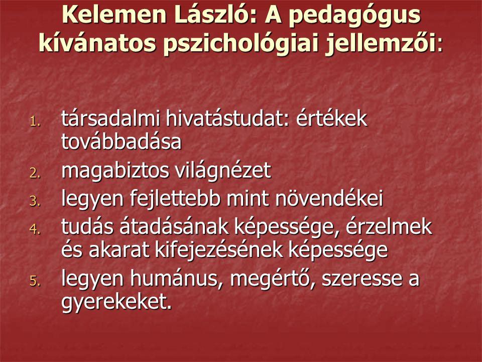 Kelemen László: A pedagógus kívánatos pszichológiai jellemzői: