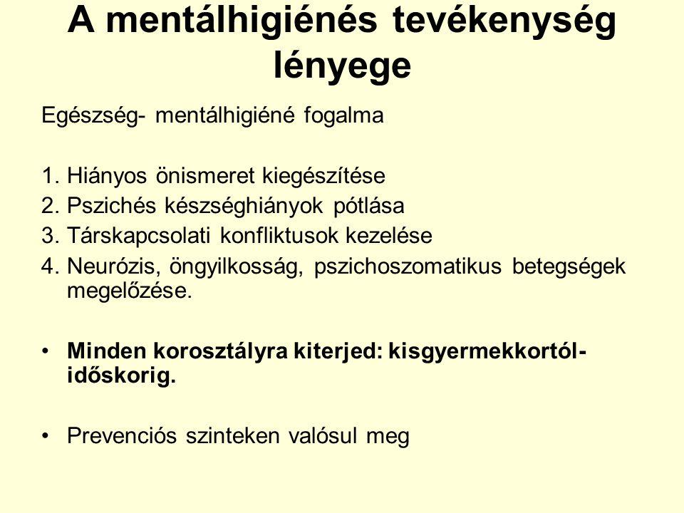 A mentálhigiénés tevékenység lényege