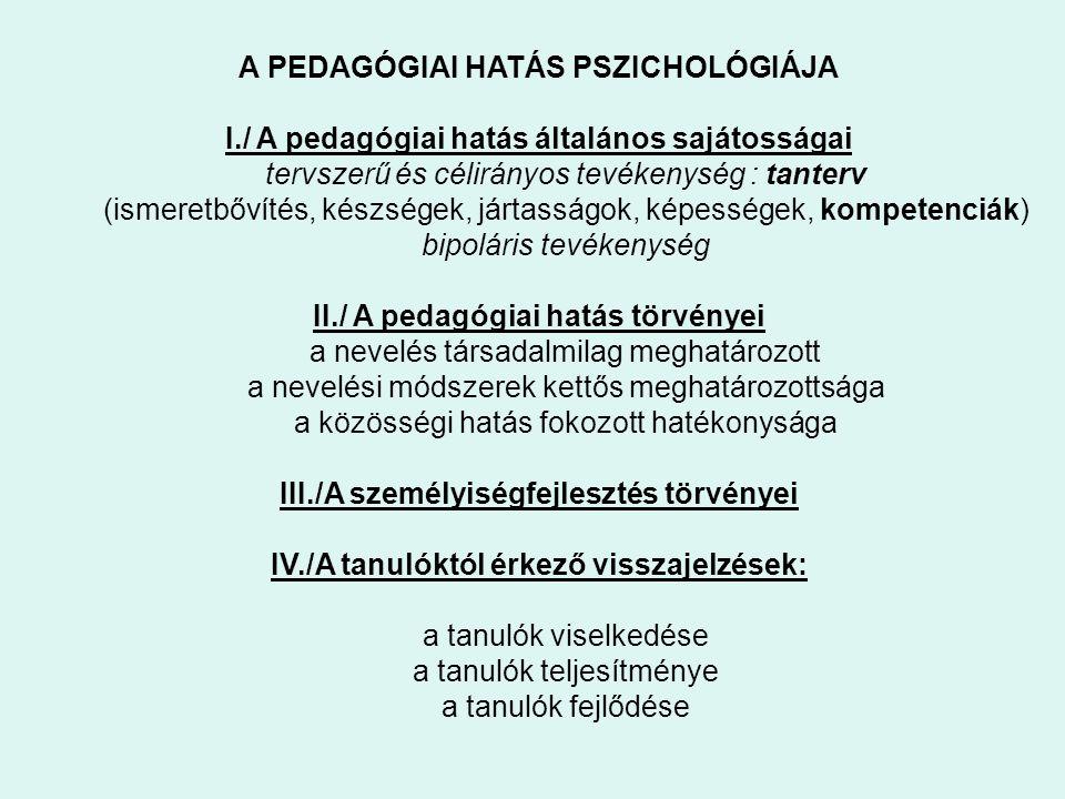 A PEDAGÓGIAI HATÁS PSZICHOLÓGIÁJA