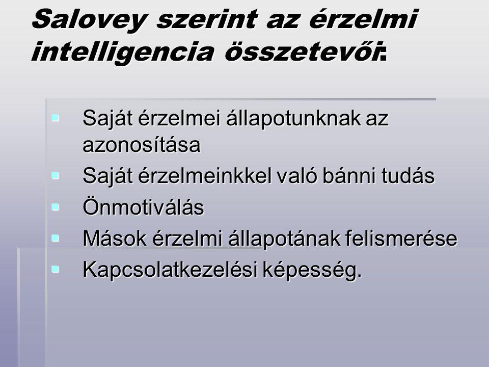 Salovey szerint az érzelmi intelligencia összetevői: